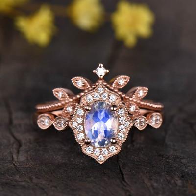 rose gold moonstone engagement ring set 0