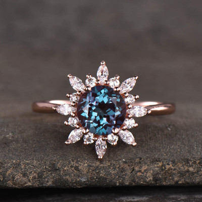 Vintage alexandrite engagement ring 01