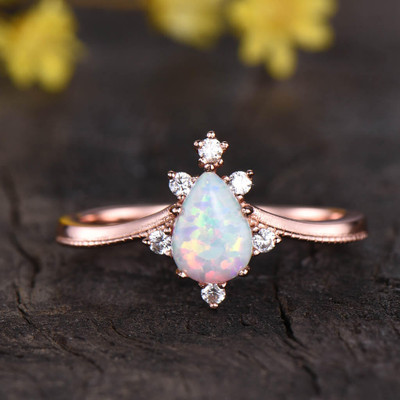 vintage pear shaped opal engagement ring 03