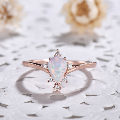 vintage pear shaped opal engagement ring 0