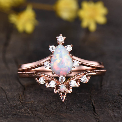 vintage opal engagement rings -BBBGEM rose gold pear shaped opal ring