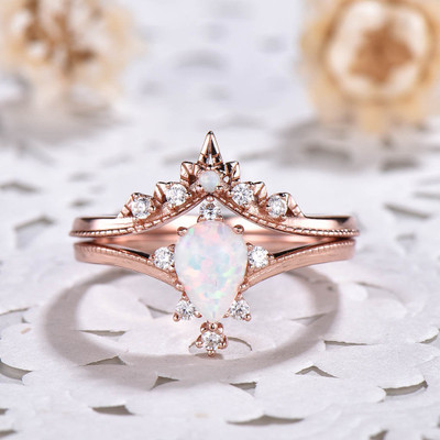 Art Deco Opal Wedding Set 0