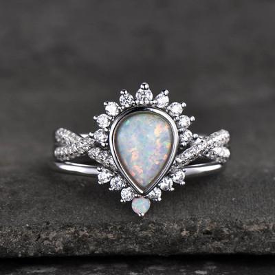 Vintage Opal Rings-BBBGEM Opal Engagement Ring Set