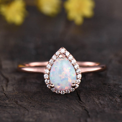 Vintage Opal Halo Diamond Engagement Ring 0