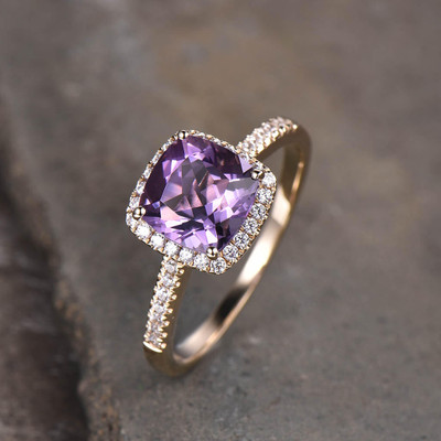 Amethyst diamond halo engagement ring yellow gold 02
