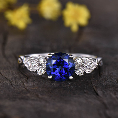 Round Sapphire Ring-BBBGEM Vintage Sapphire Engagement Rings