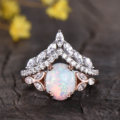 Opal And Moissanite Wedding Set 0