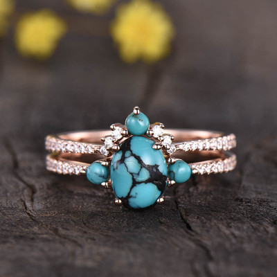 Three Stone Turquoise Engagement Ring Set 0