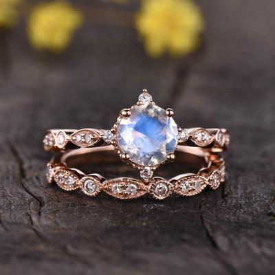 Vintage Rainbow Moonstone Engagement Ring Set 0