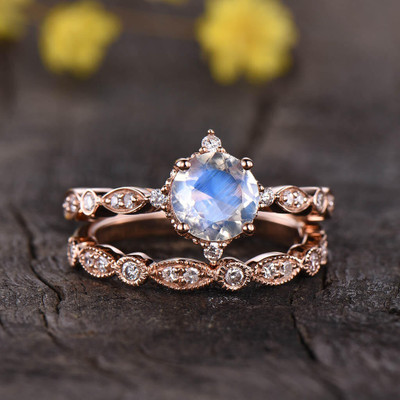 Vintage Rainbow Moonstone Engagement Ring Set 0