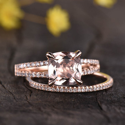 Split Shank Morganite Bridal Set 0
