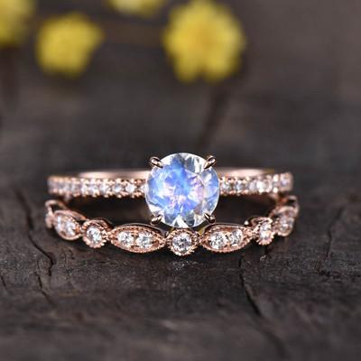 Round Cut Moonstone Engagement Ring Set 0