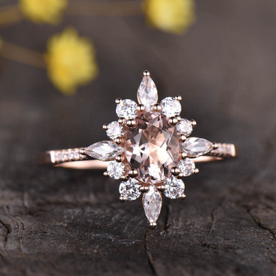 floral rose gold morganite ring 0