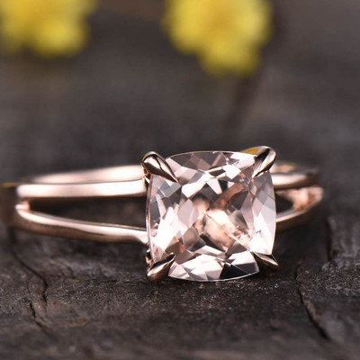 Solitaire Morganite Engagement Ring Split Shank 0