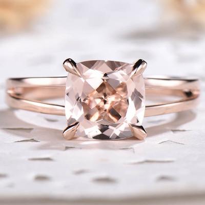 Solitaire Morganite Engagement Ring Split Shank 05