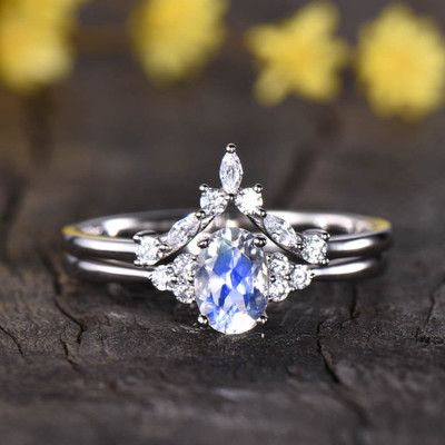 Cluster Diamond Moonstone Engagement Ring 0