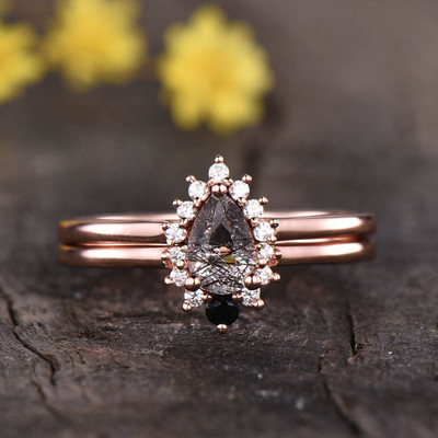 Cluster Black Rutilated Quartz Diamond Engagement Ring Set 0