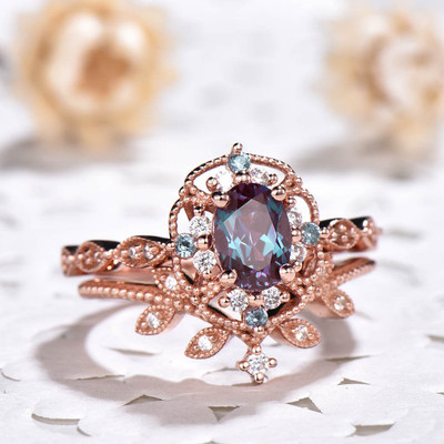 Floral Alexandrite Engagement Ring 0