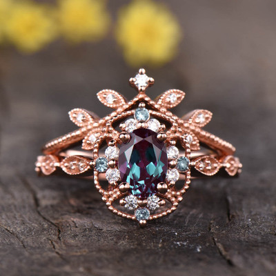 Floral Alexandrite Engagement Ring 03