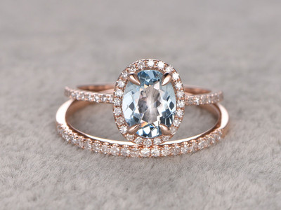 Aquamarine bridal ring set