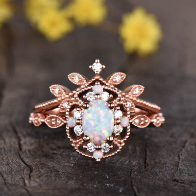 Floral Opal Milgrain Engagement Ring Set 04