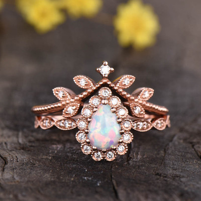 Pear Shaped Opal Engagement Ring Set  02