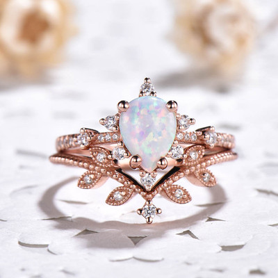 Art Deco Opal Engagement Ring Set 0
