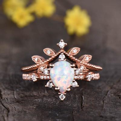 Art Deco Opal Engagement Ring Set 05
