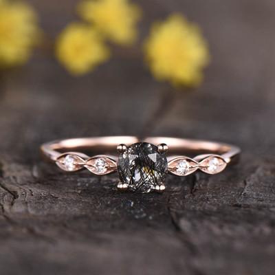 Art Deco Black Rutilated Quartz Engagement Ring 0
