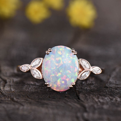 Art Deco White Opal Engagement Ring 0