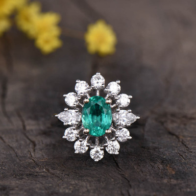 Vintage Natural Emerald Engagement Ring Floral 0