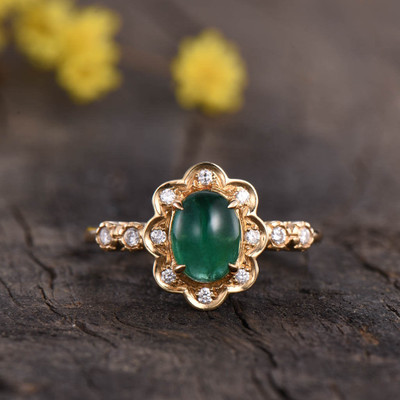 vintage emerald engagement ring oval cut 0