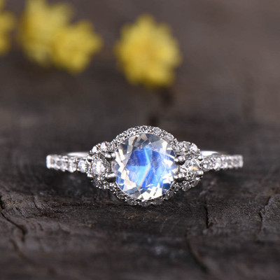 Vintage Moonstone And Diamond Engagement Ring 02