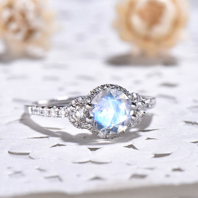 Vintage Moonstone And Diamond Engagement Ring 0