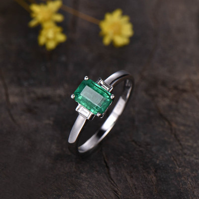 Emerald Cut Emerald Engagement Ring Three Stone 0
