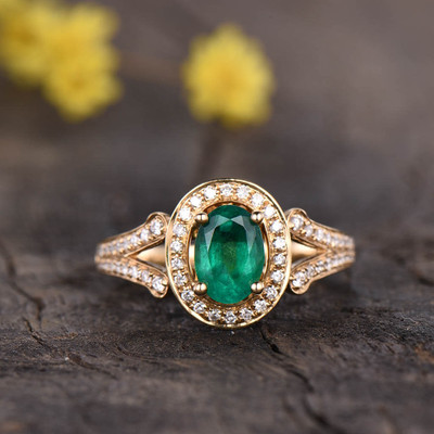 Split Shank Emerald Diamond Engagement Ring 0