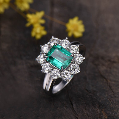 Floral Emerald  Cut Emerald Diamond Moissanite Engagement Ring 0