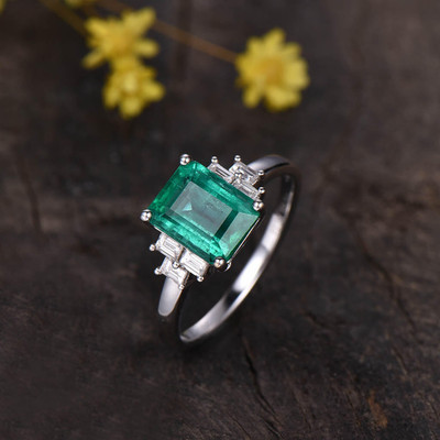 Solitaire Natural Emerald Cut Emerald And Baguette Cut Diamond Engagement Ring
