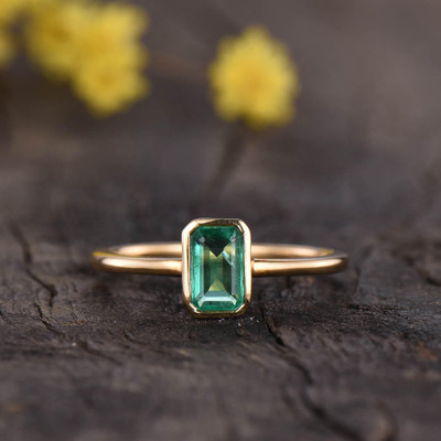 Solitaire Emerald Cut Emerald Engagement Ring 0