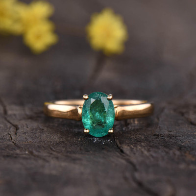 Solitaire Natural Emerald Engagement Ring Oval Cut 0