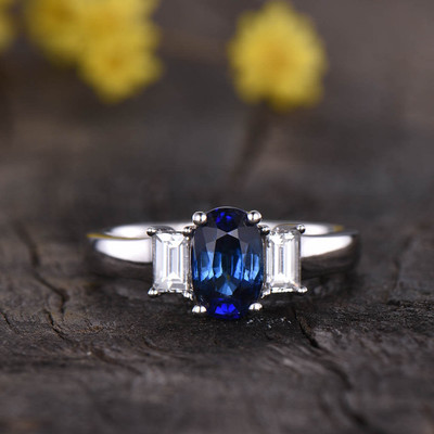 Three Stone Natural Sapphire Engagement Ring 0