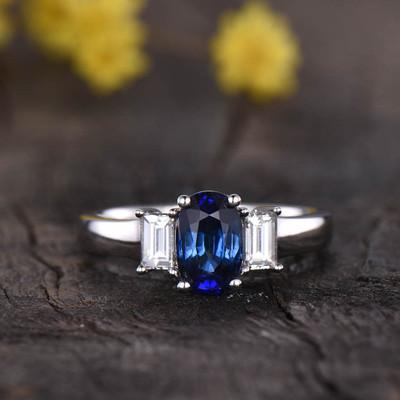 Three Stone Natural Sapphire Engagement Ring 0