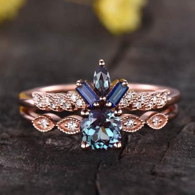 Alexandrite Engagement Ring-BBBGEM Vintage Alexandrite Rings