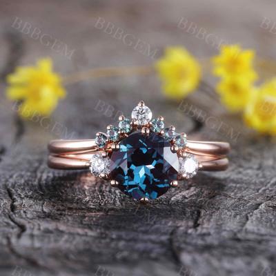 Alexandrite Wedding Rings-BBBGEM Alexandrite Ring