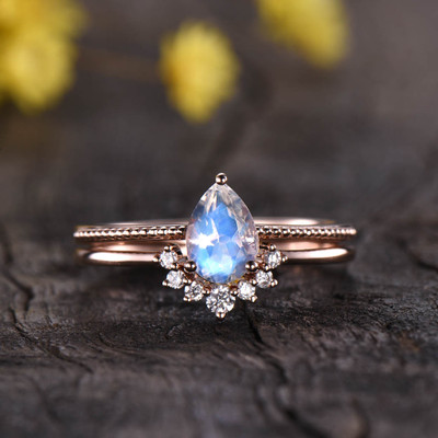 pear shaped moonstone engagement ring set 0