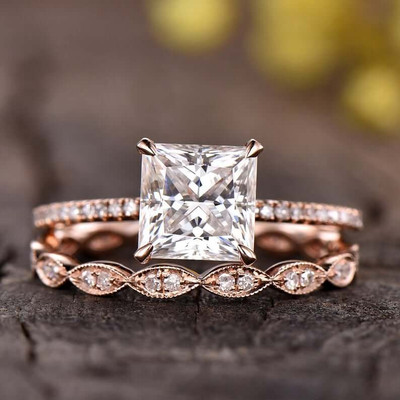 2 Carat Princess Cut Moissanite Engagement Ring Set 0
