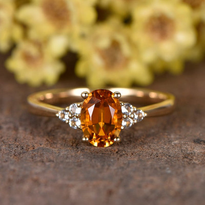 Cluster Blue Oval Cut Citrine And Diamond Engagement Ring 0