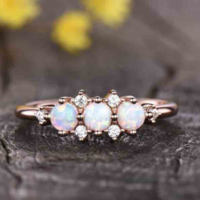 Opal Cluster Diamond Engagement Ring 0