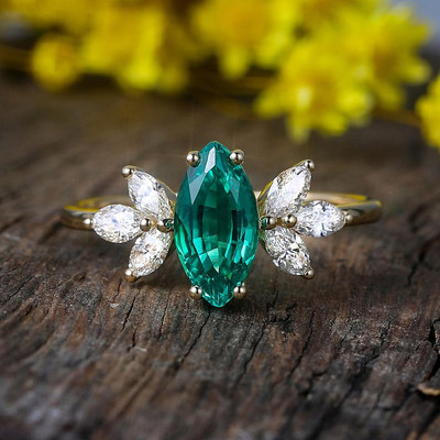 Vintage Marquise Emerald Engagement Ring 0