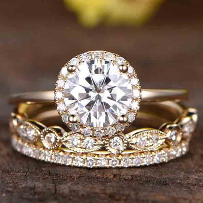 Moissnaite Wedding Sets Yellow Gold